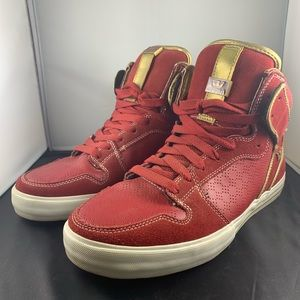 Supra Vaider high top, Red and Gold, size US 10.5.